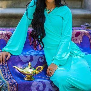 Aqua Turquoise Balloon Sleeve Maxi Dress Small